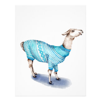 Watercolor Llama in Blue Sweater Letterhead