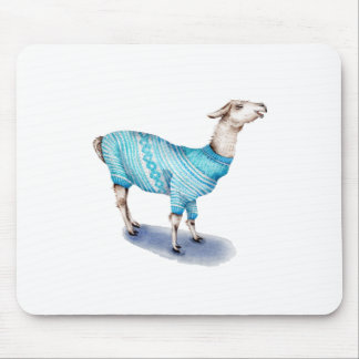 Watercolor Llama in Blue Sweater Mouse Pad