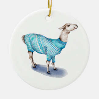 Watercolor Llama in Blue Sweater Round Ceramic Ornament