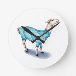 Watercolor Llama in Blue Sweater Round Clock