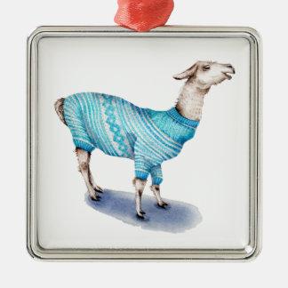 Watercolor Llama in Blue Sweater Silver-Colored Square Ornament