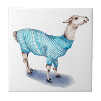 Watercolor Llama in Blue Sweater Tile