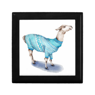 Watercolor Llama in Blue Sweater Trinket Box