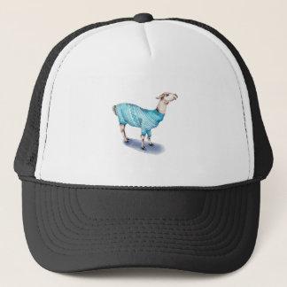 Watercolor Llama in Blue Sweater Trucker Hat