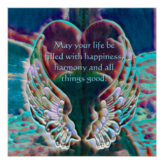 Watercolor Look Angel Wings and Heart Poster