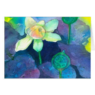 Watercolor Lotus Flower Thinking Of You Card