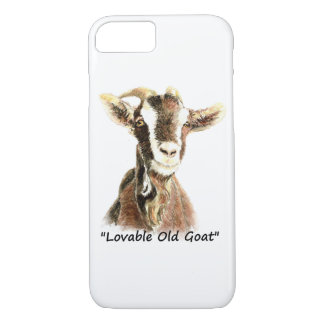 "Watercolor ""Lovable Old Goat""  Farm Animal art iPhone 8/7 Case"