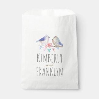 watercolor love birds couple favour bag