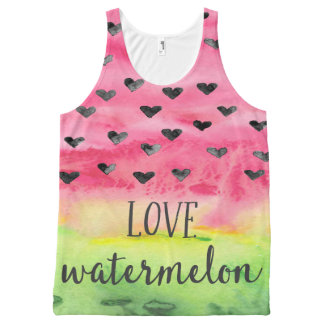 Watercolor Love Watermelon Hearts