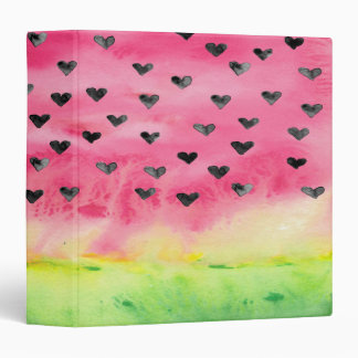 Watercolor Love Watermelon Hearts 3 Ring Binder