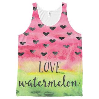 Watercolor Love Watermelon Hearts All-Over-Print Tank Top
