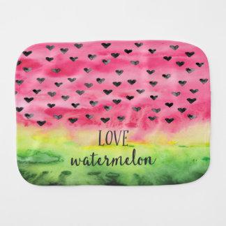 Watercolor Love Watermelon Hearts Burp Cloth