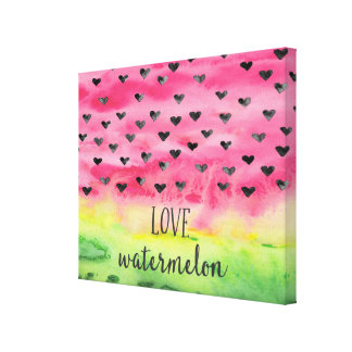 Watercolor Love Watermelon Hearts Canvas Print