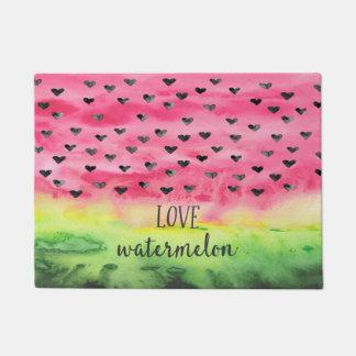 Watercolor Love Watermelon Hearts Doormat