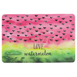 Watercolor Love Watermelon Hearts Floor Mat