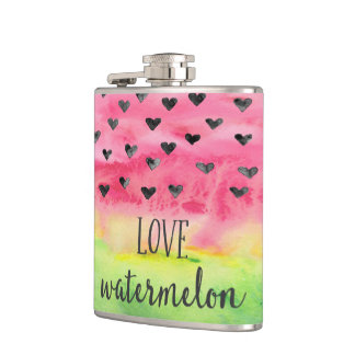 Watercolor Love Watermelon Hearts Hip Flask