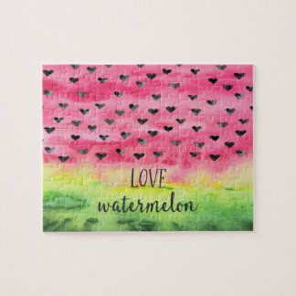 Watercolor Love Watermelon Hearts Jigsaw Puzzle