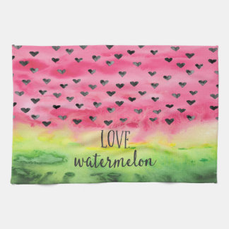 Watercolor Love Watermelon Hearts Kitchen Towel