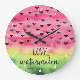 Watercolor Love Watermelon Hearts Large Clock