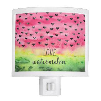 Watercolor Love Watermelon Hearts Nite Lite