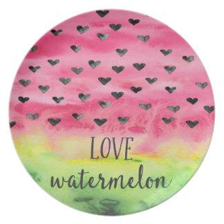 Watercolor Love Watermelon Hearts Party Plates