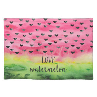 Watercolor Love Watermelon Hearts Placemat