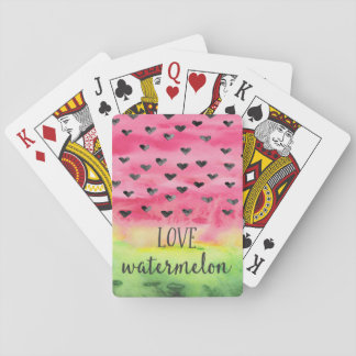 Watercolor Love Watermelon Hearts Playing Cards