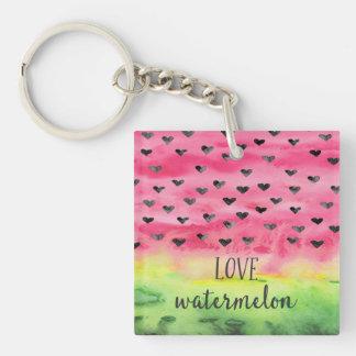 Watercolor Love Watermelon Hearts Single-Sided Square Acrylic Keychain