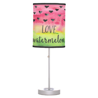 Watercolor Love Watermelon Hearts Table Lamp