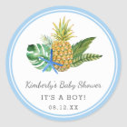 Watercolor Luau Baby Shower   Blue   Classic Round Sticker