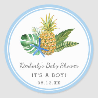 Watercolor Luau Baby Shower | Blue | Classic Round Sticker