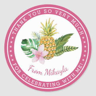 Watercolor Luau Thank You Favour Stickers