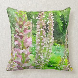 Watercolor Lupine Flowers Tree Park Bench Garden Throw Pillow