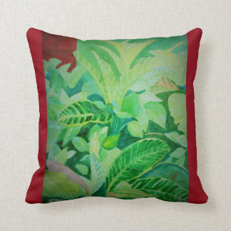 Watercolor Lush Jungle Panama House Throw Pillow