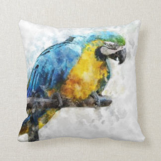 Watercolor Macaw Throw Pillow