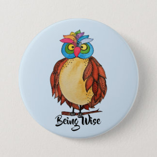 Watercolor Magical Owl With Rainbow Feathers 3 Inch Round Button