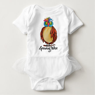 Watercolor Magical Owl With Rainbow Feathers Baby Bodysuit