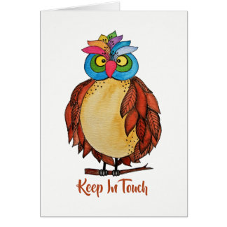 Watercolor Magical Owl With Rainbow Feathers Card