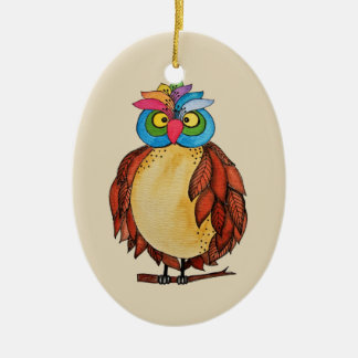 Watercolor Magical Owl With Rainbow Feathers Ceramic Ornament
