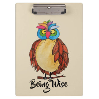 Watercolor Magical Owl With Rainbow Feathers Clipboard