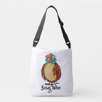 Watercolor Magical Owl With Rainbow Feathers Crossbody Bag
