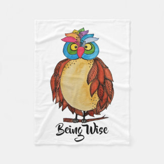 Watercolor Magical Owl With Rainbow Feathers Fleece Blanket