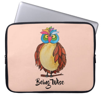 Watercolor Magical Owl With Rainbow Feathers Laptop Sleeve