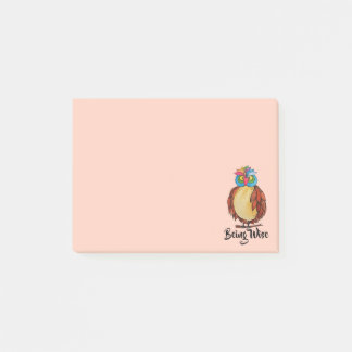 Watercolor Magical Owl With Rainbow Feathers Post-it Notes