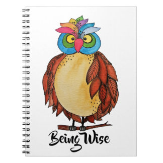 Watercolor Magical Owl With Rainbow Feathers Spiral Notebook