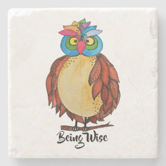Watercolor Magical Owl With Rainbow Feathers Stone Coaster