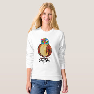 Watercolor Magical Owl With Rainbow Feathers Sweatshirt