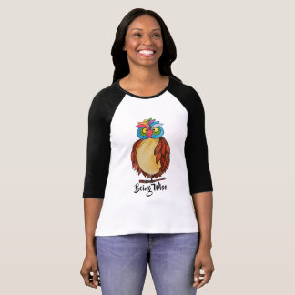 Watercolor Magical Owl With Rainbow Feathers T-Shirt
