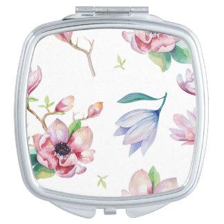 Watercolor Magnolia Makeup Mirror