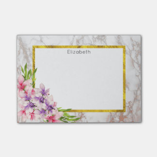 Watercolor Magnolias, Faux Marble Texture Custom Post-it® Notes